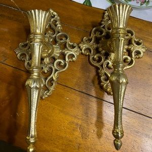 Pair of brass ornate candle sconces Hollywood glam